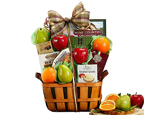 - Wine Country Classic Harvest Fruit and Favorites Gift Basket. Includes Delicious Apples, Oranges, Pears With Cheese, Hummus and More!. Perfect For Thank You, Celebration and Congratulations