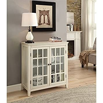 Amazon Bowery Hill Antique Double Door Curio Cabinet In White