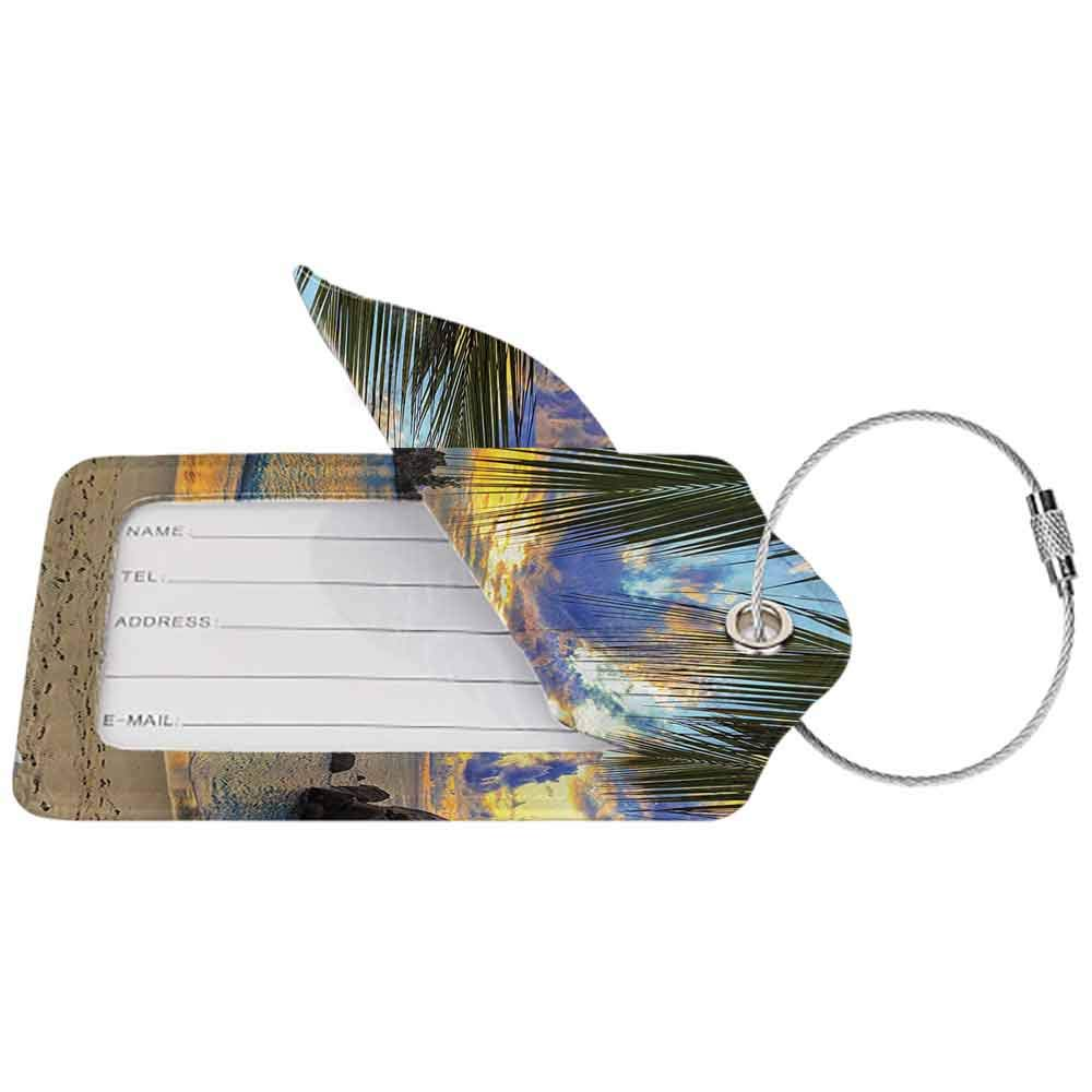 Waterproof luggage tag Seaside Decor Collection Sunset at Beach Rumbling Ocean Luxurious Resort with Palm Trees Travel Locations Picture Soft to the touch Ivory Green W2.7 x L4.6