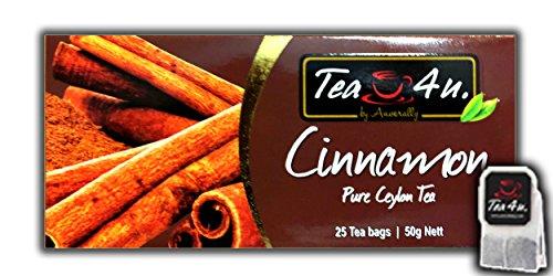 Cinnamon Tea | Black Tea | Cinnamon Flavoured Tea - 25 Tea Bags | Ceylon Tea | Natural & Pure & Unique Quality , From Sri Lanka | Tea4U