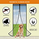Magnetic Screen Door, Heavy Duty Mesh Curtain with Full Frame Velcro, Self-Closing Mosquitoes Screen Doors Keep Bug Out and Let Fresh Air In, Fits Door Up To 36x82 Inch, Black