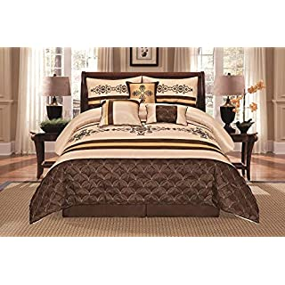Jenin 7 Pieces Complete Bedding Ensemble Beige Brown Gold Luxury Embroidery Comforter Set Bed-in-a-Bag Bedding- Yasmen (Queen)