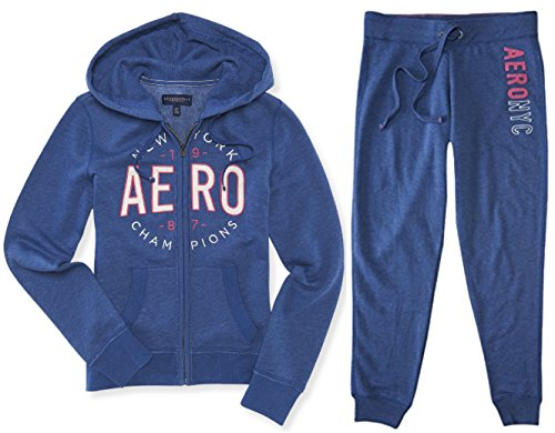 Aeropostale Women's Hoodie and Sweat Pants Set NYC Blue Medium