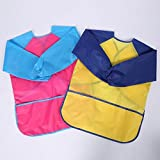 Pack of 2 Kids Art Smocks, Children Waterproof Artist Painting Aprons Long Sleeve with 3 Pockets for Age 4-7 Years by Bassion