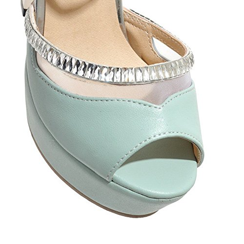 Ladies Electroplate Material Blue Heels Sandals Heel 1TO9 High Soft ZR5qZd