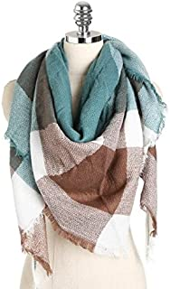 Shop 6 Scarf Shawl, Scarf silkWinter Warm Triangle Scarf, Plaid Tassel Scarf, Women's Shawl Blanket Scarf,11