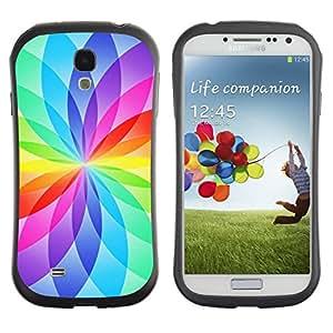 "Hypernova Slim Fit Dual Barniz Protector Caso Case Funda Para SAMSUNG Galaxy S4 IV / i9500 / i9515 / i9505G / SGH-i337 [Floral blanca del arco iris Colores vibrantes""]"