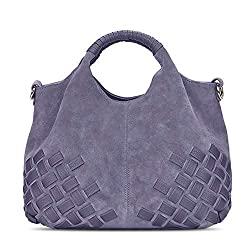 Nico Louise Women Weave Suede Genuine Leather Handbag Female Leisure Casual Lady Crossbody Shoulder Bag Messenger Top Handle Bags Light Grey Big
