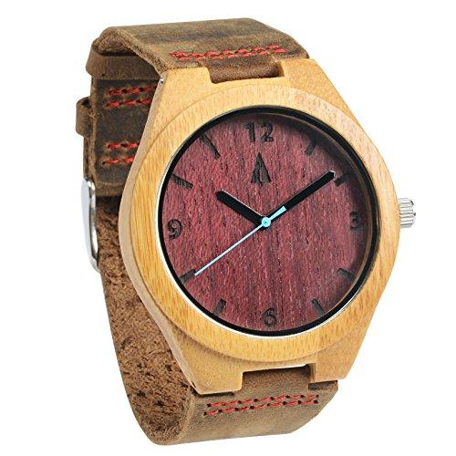 Treehut Men's Purple Heart Bamboo Wooden Watch - Genuine Brown Leather - Sport Dial Junior Black