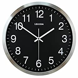 Simple Silent Wall Clock Clock Bedroom Living Room Wall Charts White Wall Clock Metal Modern Wall Clock,Stainless Steel Black,16 Inch