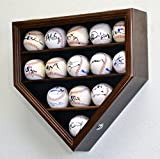 14 Baseball Display Case Cabinet Holder Wall Rack Home Plate Shaped w/ UV Protection- Lockable -Walnut