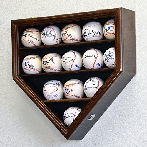14 Baseball Display Case Cabinet Holder Wall Rack Home Plate Shaped w/ UV Protection- Lockable -Walnut (Baseball Four Case Display)