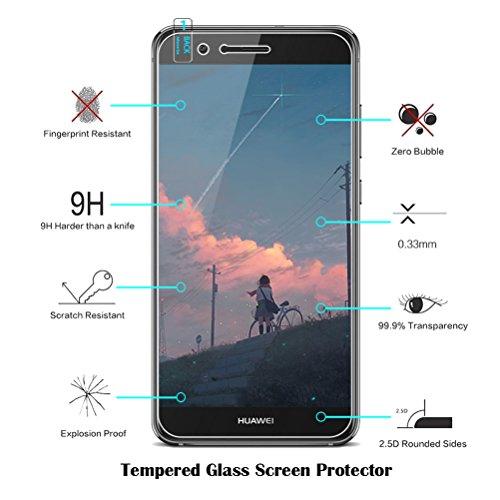 Funda Huawei P10 Caja Del Teléfono,Con Protector De Pantalla De Cristal Templado Blanco Tribal Mandala Henna Transparente Diseño TPU Funda protectora parachoques a prueba de golpes para Huawei P10 Lit #05