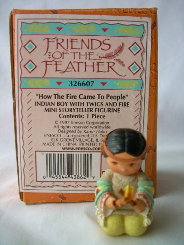 1997 Enesco Friends Of A Feather How The Fire Came To The People Indian Boy With Twigs And Fire Mini Storyteller Figurine # 326607