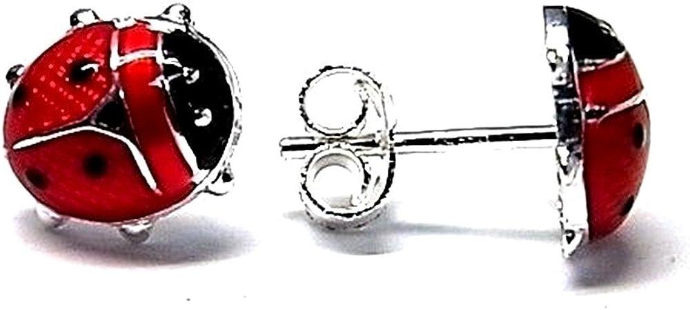 Pendientes Plata Ley 925M Mariquita Esmaltada 8.95mm. Cierre Presión Niña