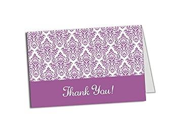Amazon Com 50 Purple Damask Foldover Thank You Cards Wedding