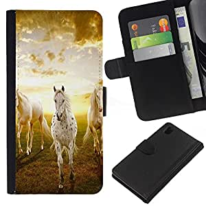 Planetar® Modelo colorido cuero carpeta tirón caso cubierta piel Holster Funda protección Para Sony Xperia Z1 L39 ( Nubes Caballos Naturaleza Sunset Mustang )