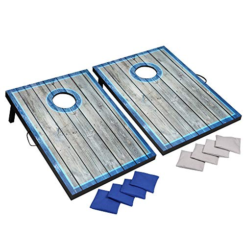Hathaway LED Cornhole Set with Rustic Target Boards & 8 Bean Toss Bags, Lighted Target Areas, Carry Handles for Portability - Blue/White ()