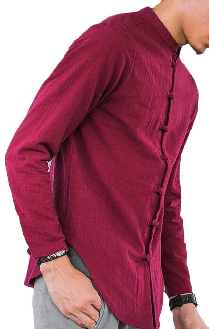 XQS Mans Vintage Frog Button Down Mandarin Collar Long Sleeve Linen Shirts