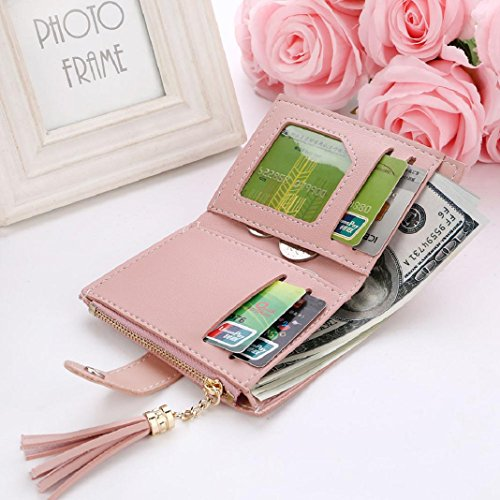 Pink ShenPr Short Card Handbag Holders Zipper Purse Women Coin Tassel Wallet Letters Clearance 7w7qAS