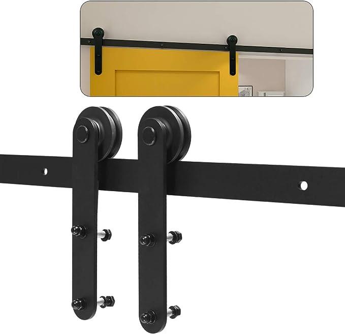 CCJH 6.6FT 200CM Acero Herraje para Puerta Corredera Kit de Accesorios para Puertas Correderas Juego de Piezas de Carril para Una Puerta, Con Un Regalo Gratis: Amazon.es: Bricolaje y herramientas