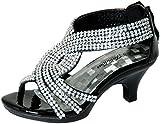 Fabulous Angel-37K Little Girls Bling Rhinestone Platform Dress Heels Cushioned Footbed Sandals, Black Pu, 12