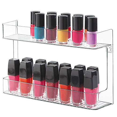 mDesign Wall Mount Nail Polish and Cosmetics Storage Rack for Bathroom - 2 Tiers, Clear