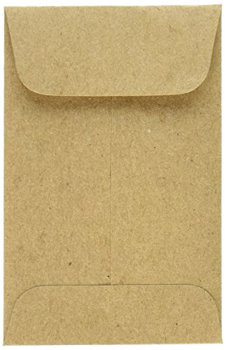"""LUX Paper #1 Coin Envelopes, 2 1/4"""" x 3 1/2"""" - Grocery Bag Brown, 500 Pack (1COGB-500)"""