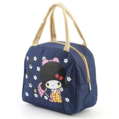 Blue Colors Portable Japanese Girl Bento Lunch Boxes Large Bag Insulation Storage Bag Organizer Traveling Waterproof Box Thickening