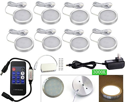 (Xking 8 Pcs Dimmable LED Lights LED Under Cabinet Lighting and RF Controller, LED Closet Lights, DC12V, Warm White 3000K)