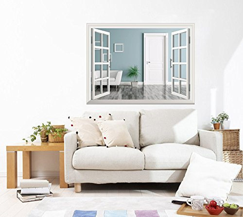 Removable Wall Sticker Wall Mural Interior of a Room with Door and Armchair Creative Window View Wall Decor