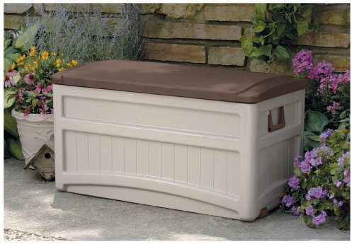 Weather Proof Hard Resin Plastic Taupe/Brown 73-Gallon Outdoor Porch Patio Deck Heavy Duty Storage Box Bench- Roomy Deep Storage Compartment Portable Durable Long Lasting- Perfect For Outdoor Gear by Seven Seasons