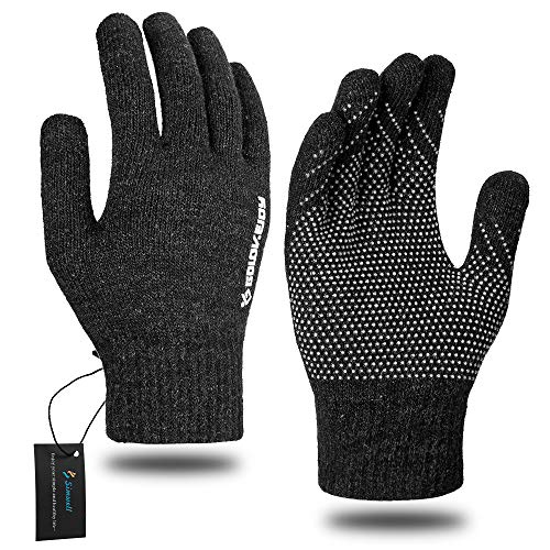 Winter Knit Gloves, Simwell Men Women Touchscreen Texting Gloves Knitted Wool Lined Magic Thermal Gloves