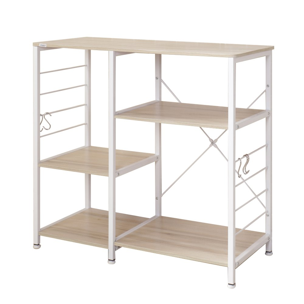 Soges Multi-layers Kitchen Baker s Rack Utility Microwave Oven Stand Storage Cart Workstation Shelf, White Oak 171-MO