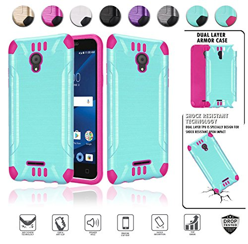 Alcatel Verso Case, IdealXcite case, CameoX case 5044R, Alcatel U50 case 5044S, Heavy Duty Metallic Brushed Slim Hybrid Shockpoof Dual Layer Armor Defender Protective Case (Teal/Hot Pink)