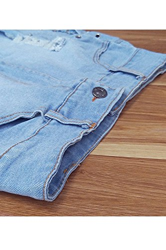 Rela Bota Women's Sexy Summer Stretch High Waist Lace up Ripped Distressed Denim Shorts Jeans X-Large Blue by Rela Bota (Image #4)