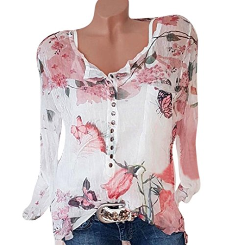 Women's Long Sleeve Tops, Pandaie Womens Casual Floral Printed Button T-Shirt Chiffon Irregular Hem Top Blouse (Many Color)