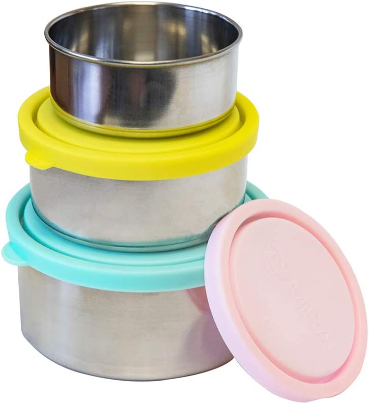 MIRA Stainless Steel Lunch Box Food Storage Containers | BPA Free, Eco-Friendly & Reusable Snack Food Nesting Containers for Kids & Adults | Set of 3 (Aqua/Sun/Blush)
