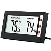 AMIR Digital Thermometer, Digital Temperature and Humidity Monitor with Large LCD Screen, Min/Max Records, °C/ °F Switch, Comfort Indicators - Black