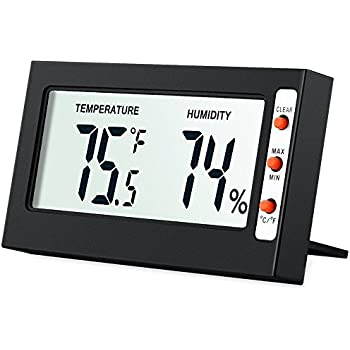 AMIR Indoor Digital Hygrometer Thermometer, Humidity Monitor With  Temperature Gauge Humidity Meter, LCD Screen