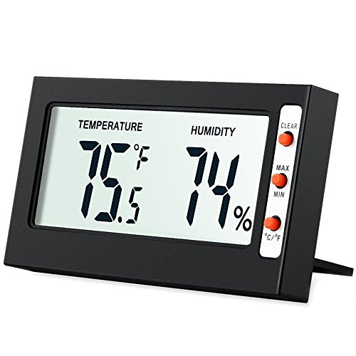 Lcd Temperature Thermometer (AMIR Indoor Digital Hygrometer Thermometer, Humidity Monitor with Temperature Gauge Humidity Meter,  LCD Screen Multifunctional Hygrometer for Baby, Kids,  Home, Car, Office, Etc. (Mini))