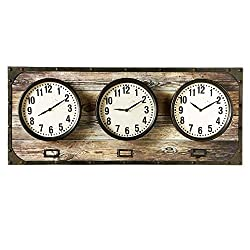 Diva At Home 35.87 Brown and White Horizontal Time Zone Decorative Analog Wall Clock
