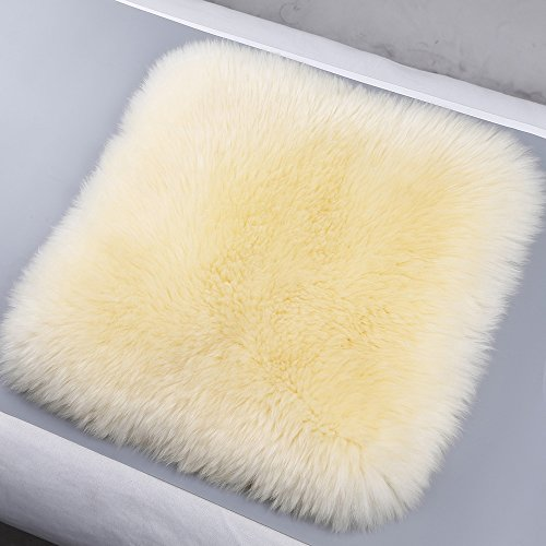 Pannow Luxury Decorative Wool Cushion Sheepskin Long Wool Car Seat Covers Chair Pad Plane Office or Home by Desert Breeze Distributing by Pannow