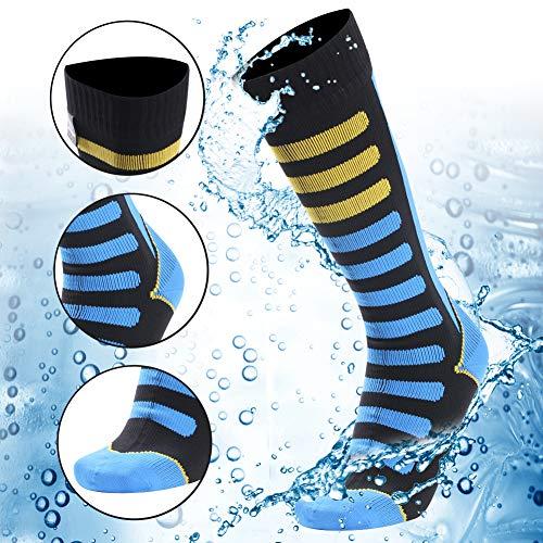 (Waterproof Breathable Socks, RANDY SUN Unisex Cycling Running Trekking Knee Length Socks, 1 Pair-Blue Stripe-Small)
