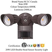 LED Security Light (Double) 2 Head with motion sensor and Photocell 20W=200W ,Brown in Colour , Outdoor IP67 6000K For Sale Input Voltage 85V-265V CETL Certified Canadian Company Canadian Stock