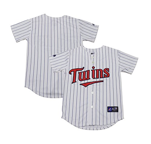 OuterStuff Minnesota Twins Word Mark Blank White Stripes Youth Home Alternate Jersey (Medium 10/12)