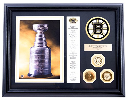 - AUTHENTIC APPAREL NHL - Boston Bruins Lord Stanley Championship Cup Hockey Collectible Plaque with 24kt Gold Plated Coins