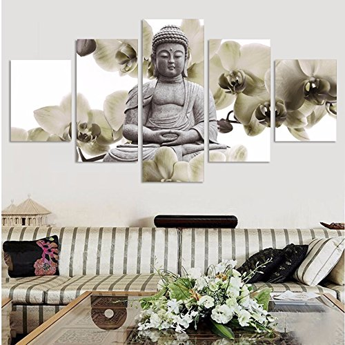 UnFramed 5 Panel Large orchid background Buddha Painting Fen