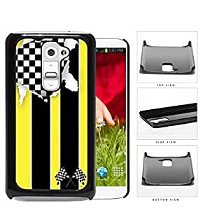 American Distorted Yellow Racing Flag Hard Plastic Snap On Cell Phone Case LG G2