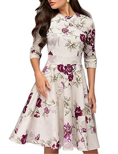 Simple Flavor Womens Floral Vintage Midi Dress 3/4 Sleeve Elegant Evening Dress